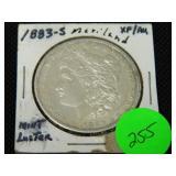 1883S Morgan silver dollar mint luster