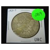 1921S Morgan silver dollar UNC