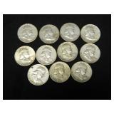 Lot of 11 Ben Franklin Half Dollars