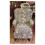 Vintage fabric rocking chair with Ottoman