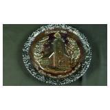 Vintage 1970 Fenton Christmas plate carnival glass