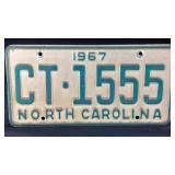 1967 North Carolina vehicle tag