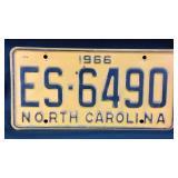 1966 North Carolina vehicle tag