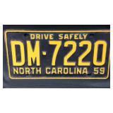 1959 North Carolina vehicle tag