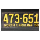 1950 North Carolina vehicle tag