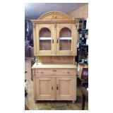 Antique English pine two-piece china cabinet