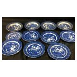 Misc lot of antique blue Willow plates and bowls