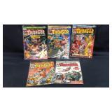 5 vintage marvel Thongor comic books