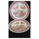 2 Antique Red Willow Transferware Divided Plates