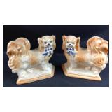 Pair Vintage 8 x 8 Staffordshire dogs