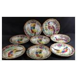 "Eight 10"" antique handpainted bird plates"