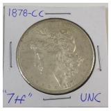 1878 CC Morgan silver dollar
