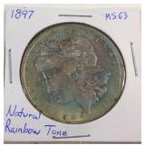 1897 Morgan silver dollar rainbow toned