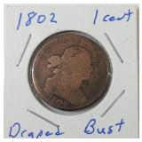 1802 large cent draped bust