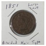 1851 large cent braided hair type
