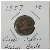 1857 one cent copper nickel flying eagle