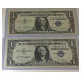 2 UNC 1957 blue seal Star dollar bills