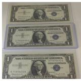 3 UNC 1957 blue Seal dollar notes
