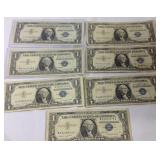 7 1957 blue seal dollar bill notes