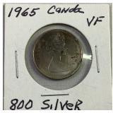 1965 Canadian quarter silver