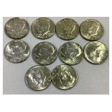 Lots of 10 40% Silver Kennedy half dollars