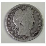 1907D barber half dollar