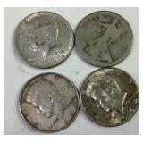 4 US silver half dollars