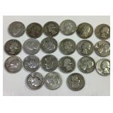 21 Silver Washington quarters