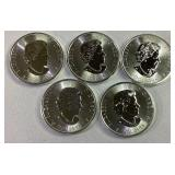 5 Canadian $8 1.5oz Silver Coins