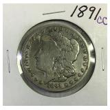 1891 CC Morgan silver dollar