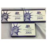 1999, 2000, 2001 US Mint Proof Coin Sets
