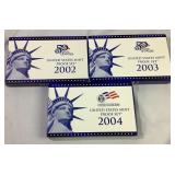 2002, 2003, 2004 Us Mint Proof Coin Sets