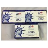 2005, 2006, 2008 US Mint Proof Coin Sets