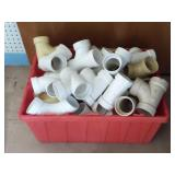 Plastic Tote of PVC Fittings | Mostly 2""