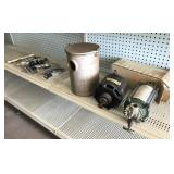 Shelf Lot, Electric Motor, Cast Iron Canister