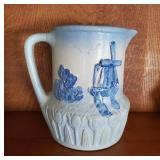 Antique Blue & White Windmill Stoneware Pitcher