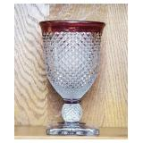Ruby Stained English Hobnail Glass Trophy Vase
