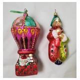 (2) Christopher Radko Ornaments | Balloon, Jester