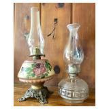 (2) Kerosene Lamps w/ Chimneys
