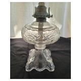Antique Pattern Glass Oil Lamp | Queen Anne Burner