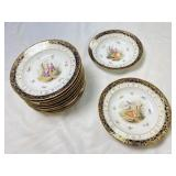 (12) Antique Beehive Mark Soup Bowls Hand Painted