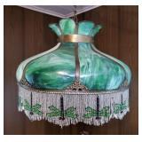 Green Slag Glass Lamp | Dragonfly Fringe Beads