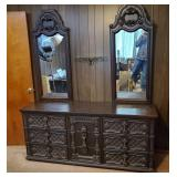 Vintage 9 Drawer Dresser | Two Mirrors