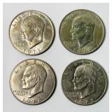 4 Eisenhower 1972d One Dollar Coins