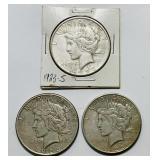 3 Peace Dollars 1923-S