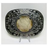 1922 Peace Dollar Coin in Vintage Belt Buckle