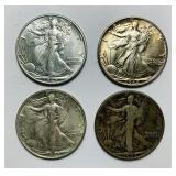 (4) 1942 Walking Liberty Half Dollar Coins
