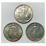 (1) 1943, (2) 1944 Walking Liberty Half Dollar