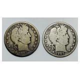 (2) 1907d Barber Half Dollar Coins