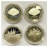 (4) US Dollar Coins, All in cases, Nice!